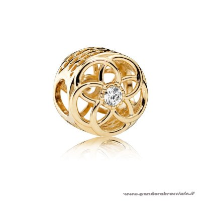 Pandora Italia Contemporaneo Charms Loving Bloom Charm 14K Oro Chiaro Cz Net