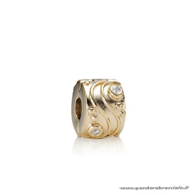 Pandora Italia Clips Charms Babbling Ruscello Abstract Gold Clip Diamonds Net
