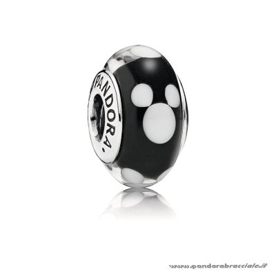 Pandora Italia Disney Mickey Silver Charm With Black And White Murano Glass Net